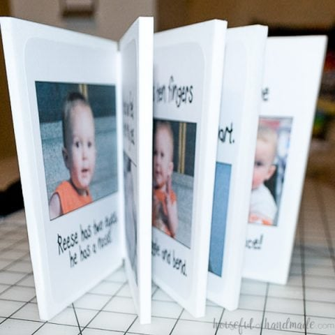 The finished custom kids foam book standing open showing the inside of the pages.