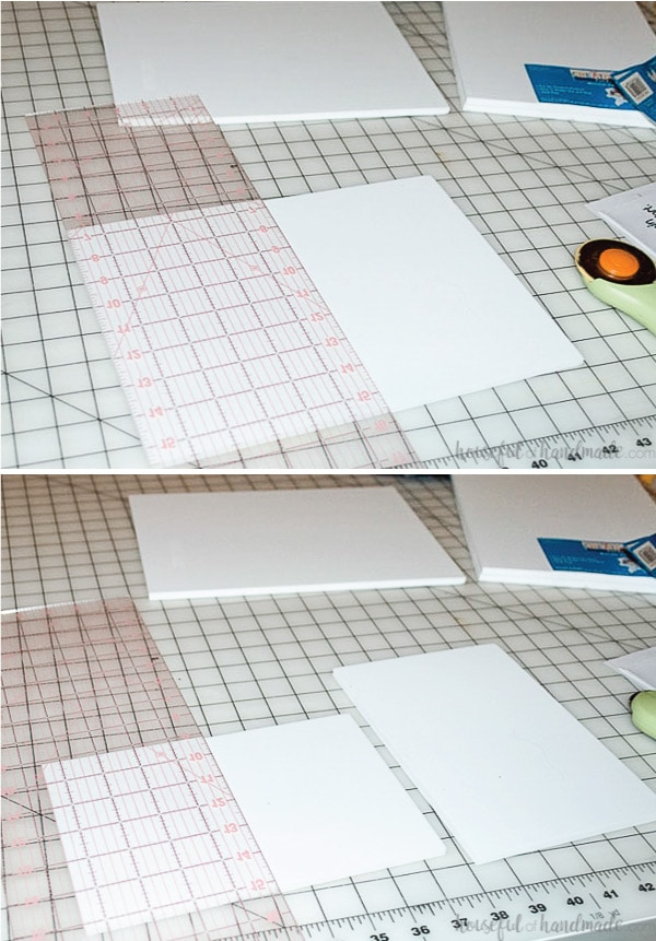 Two pictures showing the craft foam being cut into quarters with a rotary cutter and large acrylic ruler.