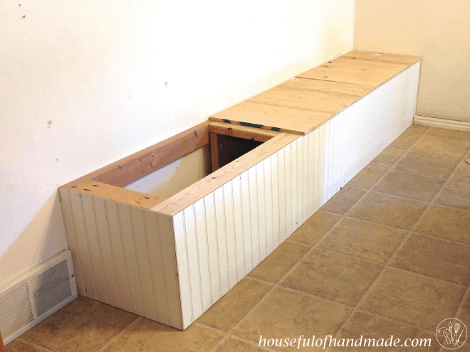 Adding the bead board to the built in bench seat from Houseful of Handmade.