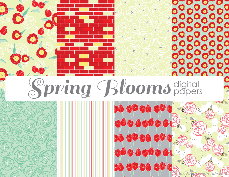 Spring Blooms. Free digital papers and clipart from Houseful of Handmade.