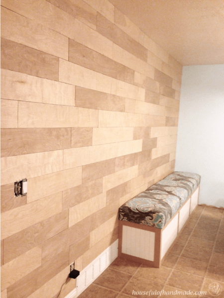 How to install a large feature plank wall for under $130. | Houseful of Handmade