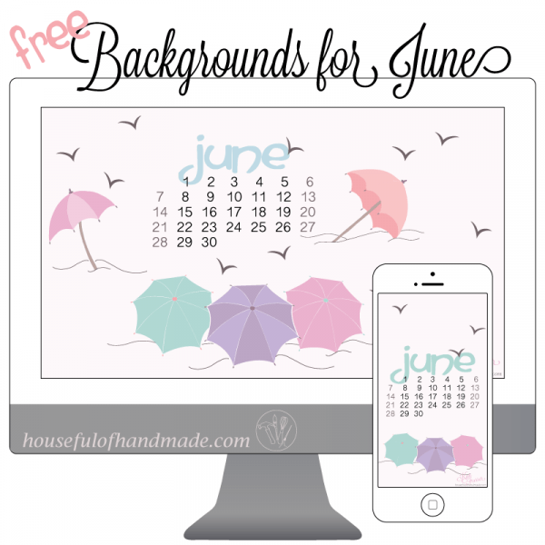 Free backgrounds for your computer desktop and smartphone for June. Get ready for summer with my beach inspired design from Houseful of Handmade.
