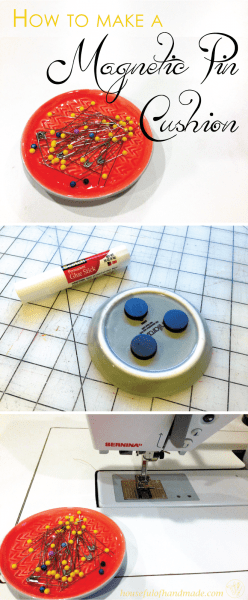 How to make a magnetic pin cushion. A 5 minute tutorial on Houseful of Handmade.