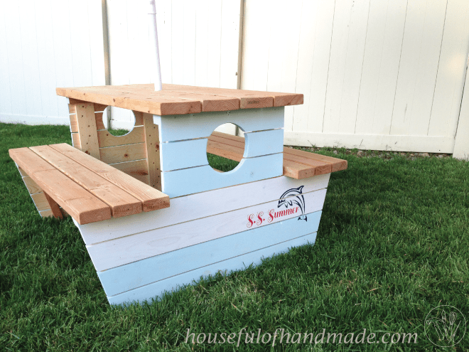 How to build a nautical picnic table for bigger kids houseful of how to build a boat picnic table for bigger kids inspired by plans form ana watchthetrailerfo