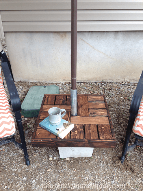 Make your own umbrella stand side table a houseful of for Make your own end table