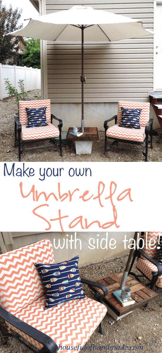 Make your own umbrella stand with a side table for cheap. Makes the perfect seating area to enjoy summer. Tutorial from Houseful of Handmade. #woodworking #outdoor #furniture #buildplans