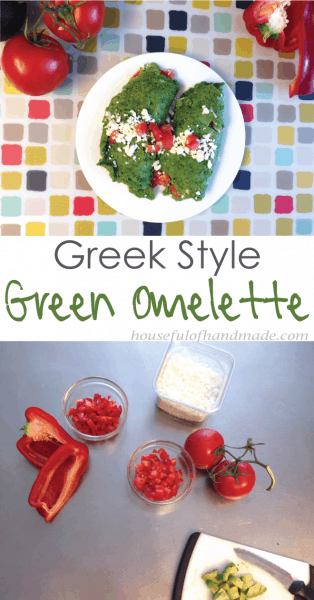 Greek style green omelette. A great way to get extra veggies into your morning. Recipe from Houseful of Handmade.