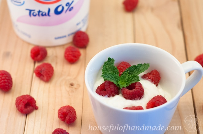 It's so easy to make homemade Greek yogurt in the crockpot for less than 20% of the cost of buying the yogurt premade. Tutorial on Houseful of Handmade.