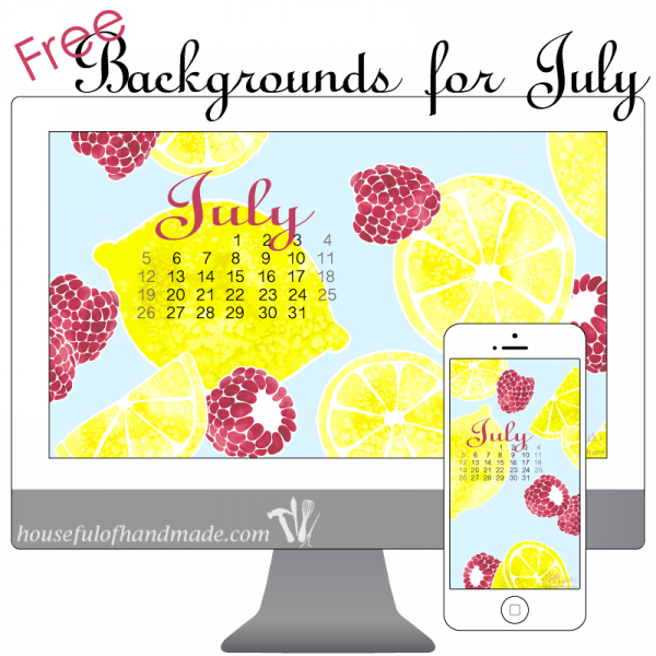 Download free backgrounds for your smartphone and computer for July from Houseful of Handmade.