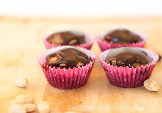 Peanut Butter Cup Brownie Bites shown in polka dot cupcake liners