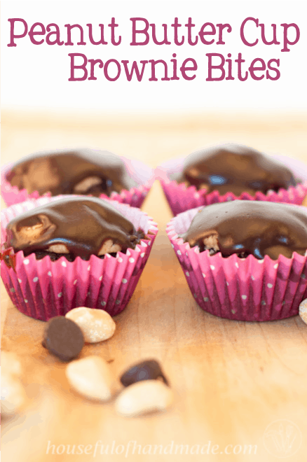 Peanut Butter Cup Brownie Bites pin image