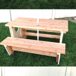 How to build a boat picnic table for bigger kids. Inspired by plans form Ana White. Tutorial on Houseful of Handmade. #getbuilding2015 #diy