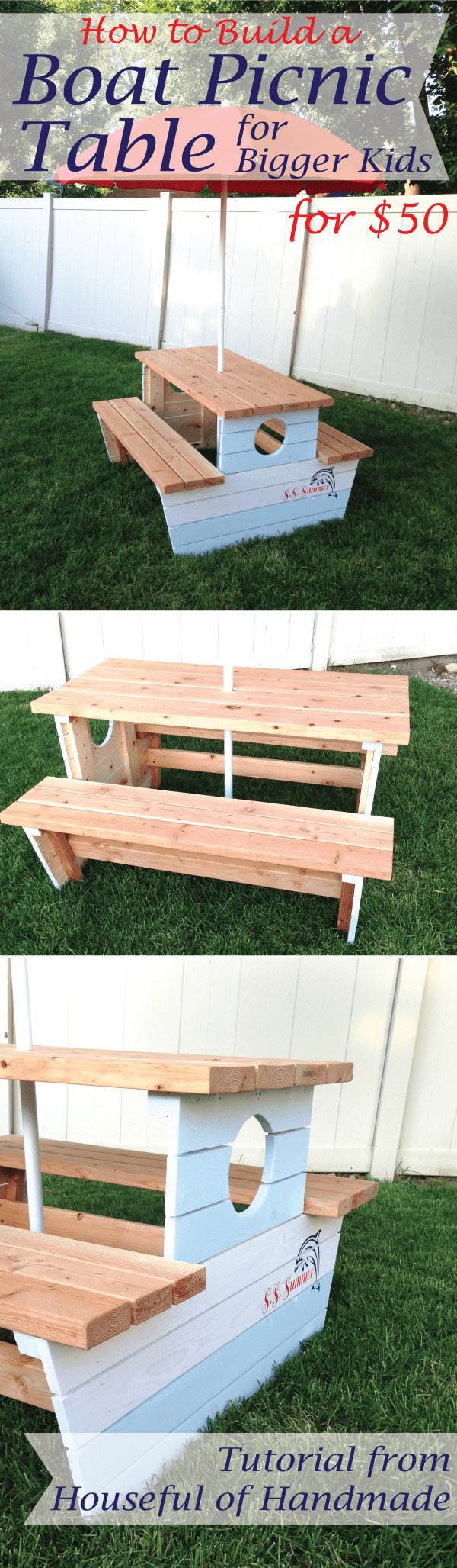 How to build a boat picnic table for bigger kids. Inspired by plans form Ana White. Tutorial on Houseful of Handmade.  #diy #woodworking #buildplans #picnictable #kids