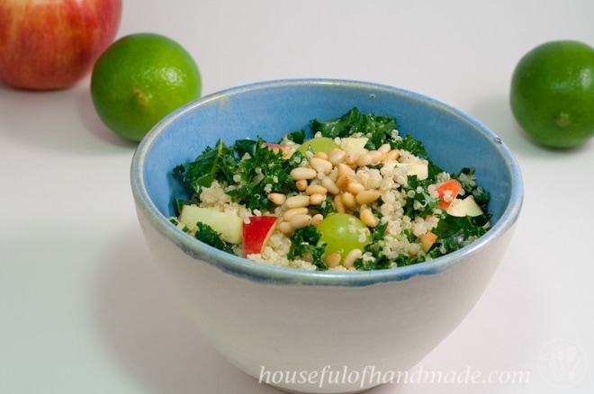 Need a salad that is big on flavor but light and refreshing? This Quinoa Kale Salad with Honey Lime Vinaigrette it the perfect salad for summer. Recipe on Houseful of Handmade.