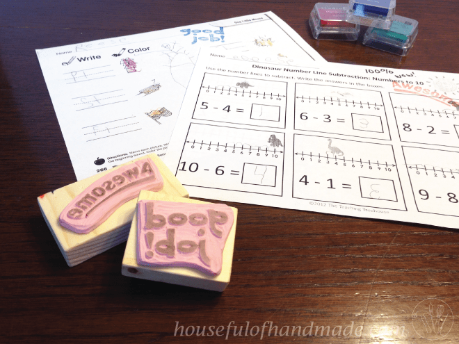 Make a unique handmade teacher gift: hand-carved stamps. Tutorial on Houseful of Handmade.