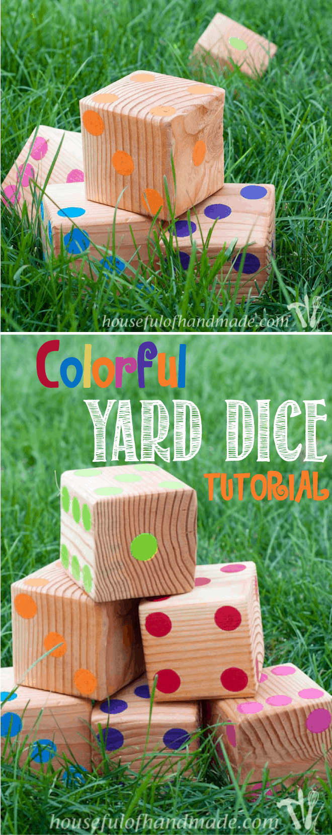 Make up a set of colorful yard dice to take to your next get together. Tutorial on Houseful of Handmade.