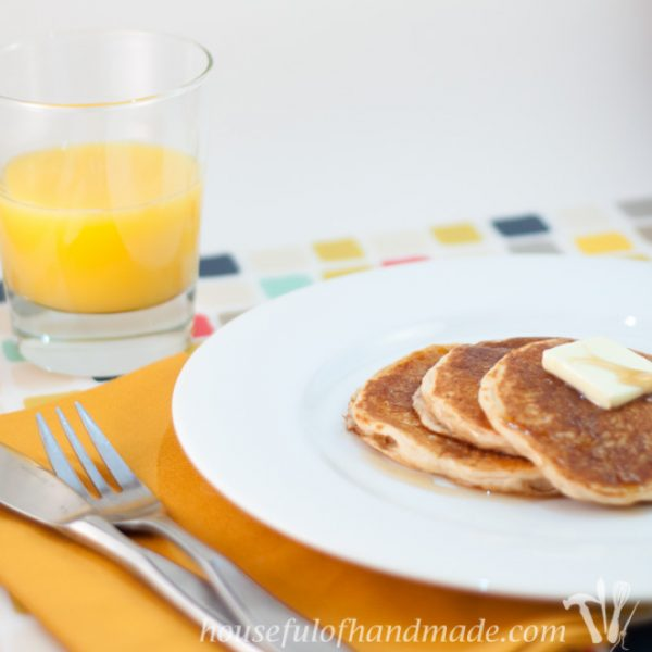 These pancakes are the best! They are made with whole wheat flour and Greek yogurt to make them healthy for everyday. Recipe on Houseful of Handmade.