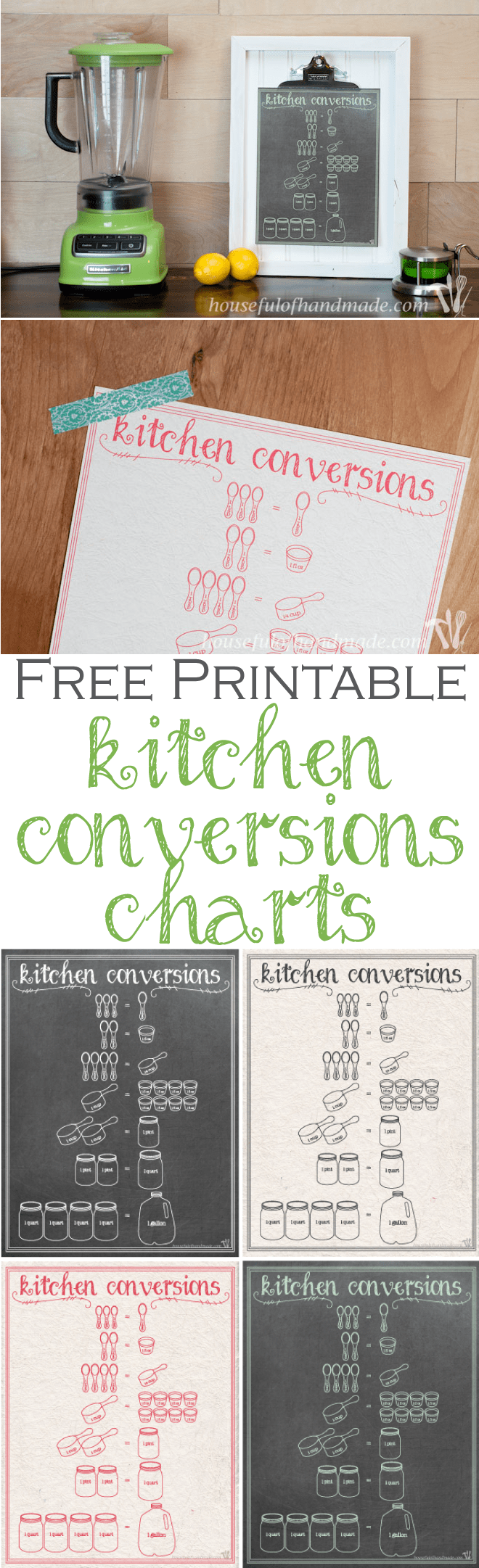 Free Printable Kitchen Conversion Chart - a Houseful of Handmade