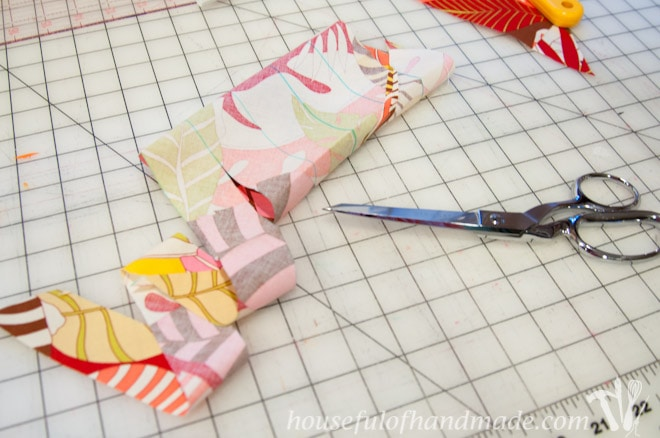 How to easily make one continuous strip of bias tape. Tutorial on Houseful of Handmade.