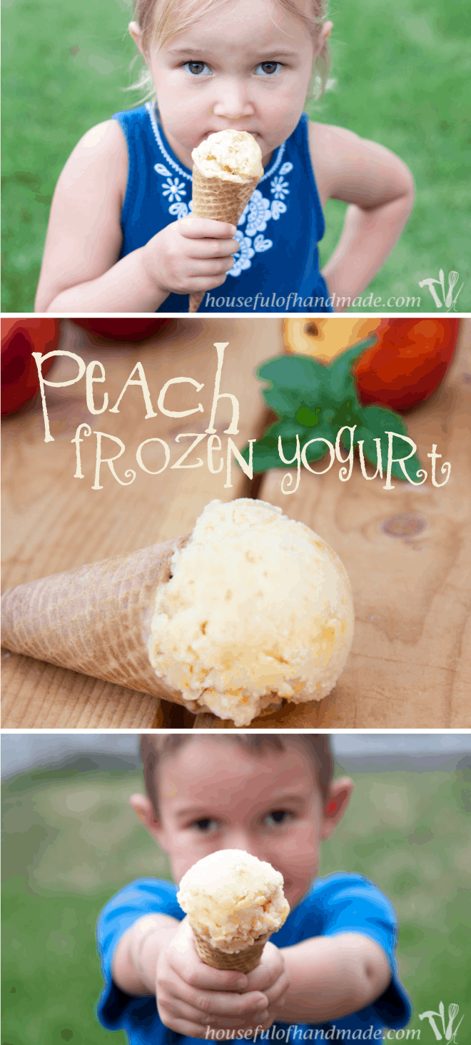 Super simple peach frozen yogurt with only 3 ingredients. Recipe on Houseful of Handmade.