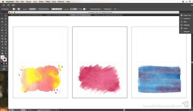 Using scanned watercolor pictures to make a thank you card
