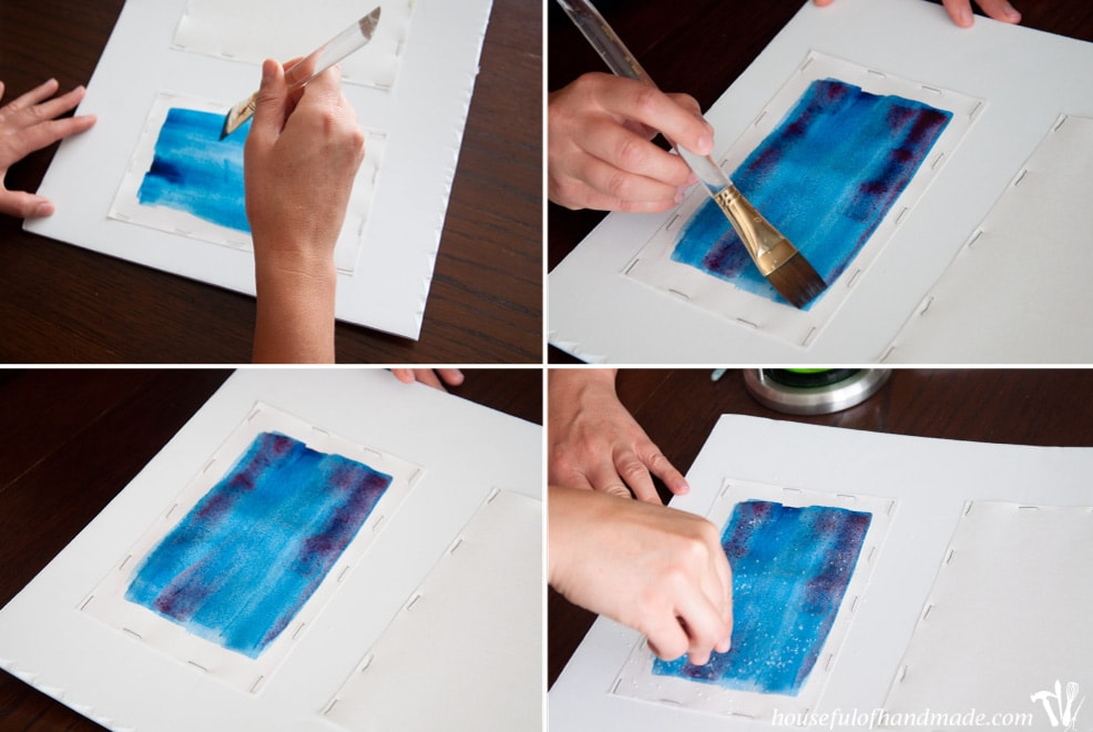 Using salt to create a watercolor effect