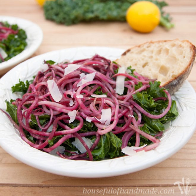 This roasted beet kale salad so fresh and delicious. It is perfect as a light lunch or as a side for dinner. Recipe on Houseful of Handmade.