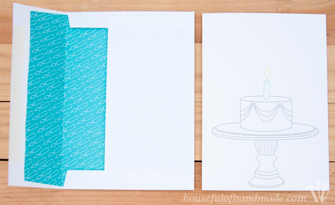 Free printable birthday cards with coordinating envelope inserts from Houseful of Handmade.