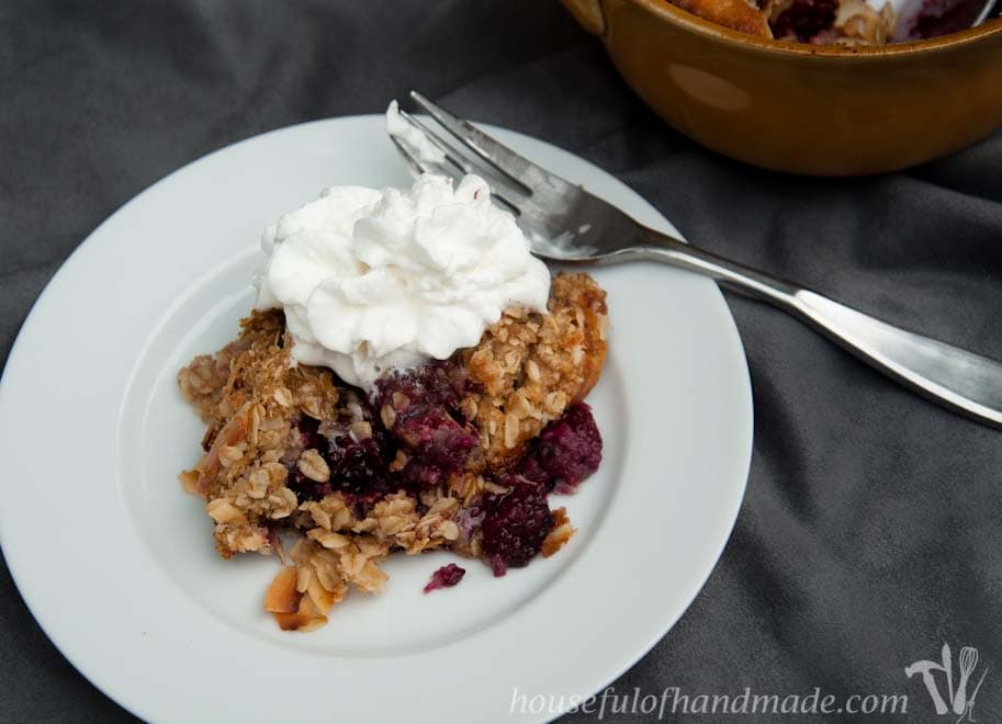This is the perfect recipe for welcoming in fall! Fresh blackberries, a sweet cake, and a coconut oat topping. Recipe from Houseful of Handmade.
