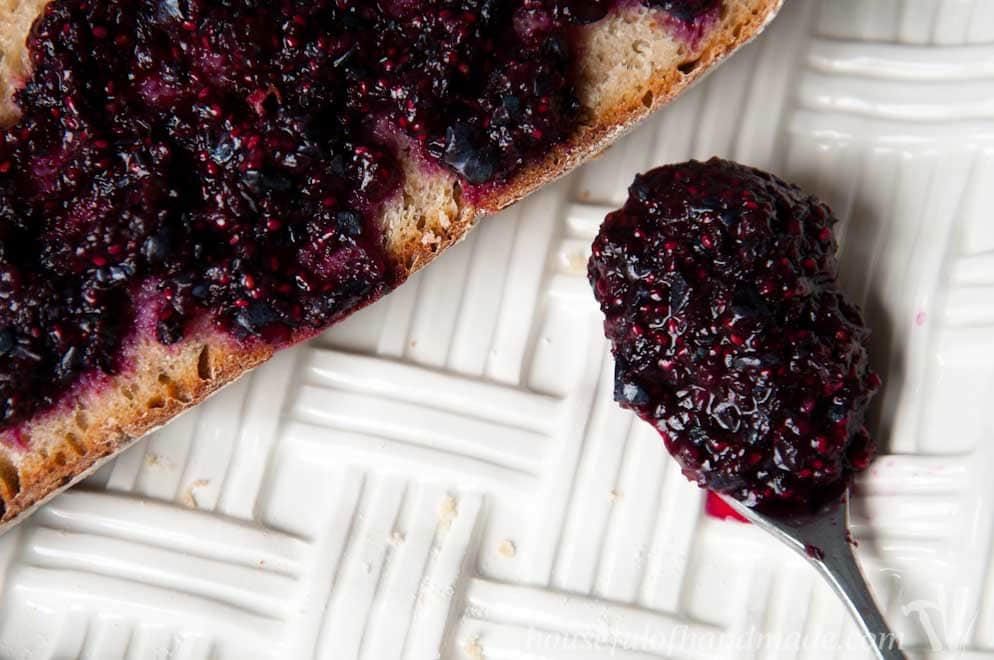 Delicious fresh blueberries and lemons make the perfect chia seed jam. Super quick and easy to make. Recipe on Houseful of Handmade.
