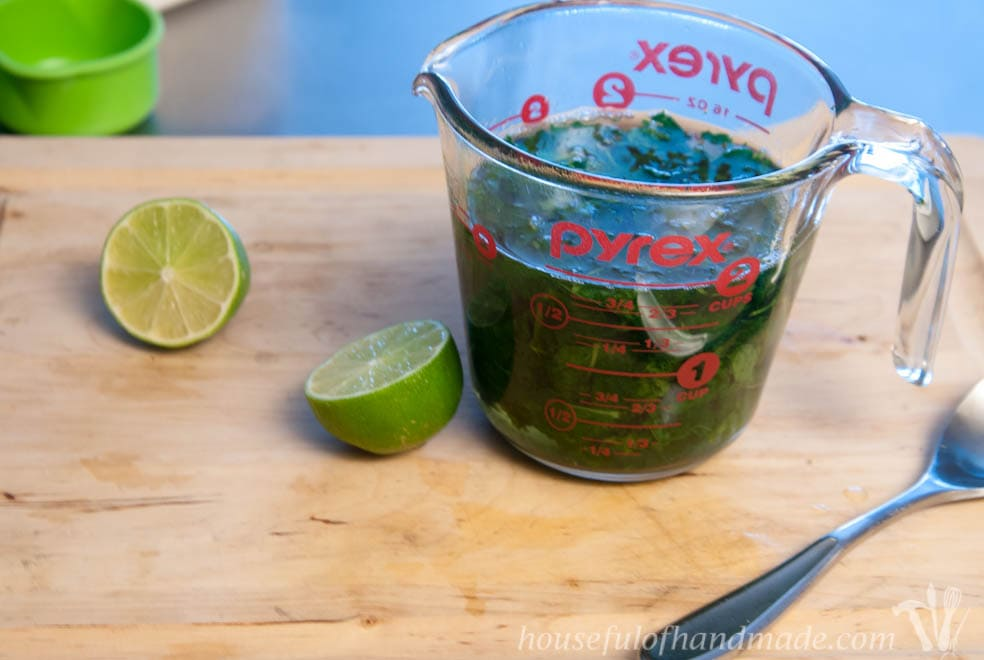 Use fresh stevia leaves and fresh mint to make the most delicious low sugar mint limeade. Recipe on Houseful of Handmade.