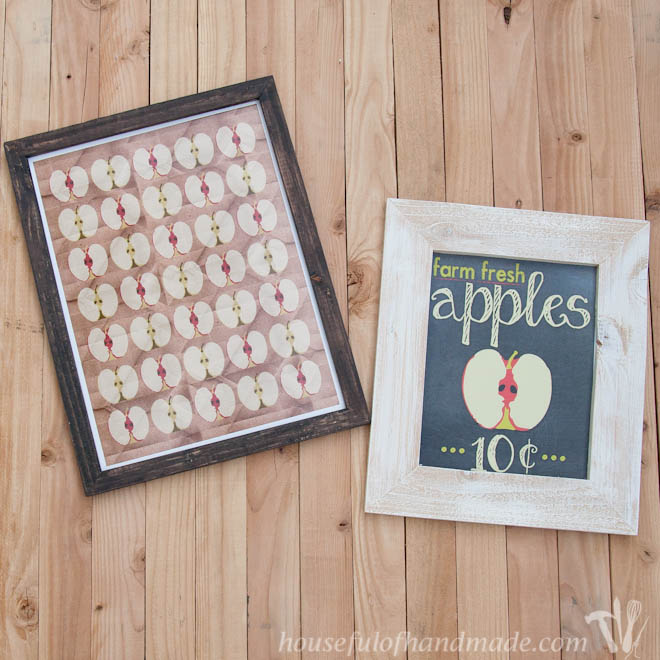 two fall printables shown in diy rustic picture frames
