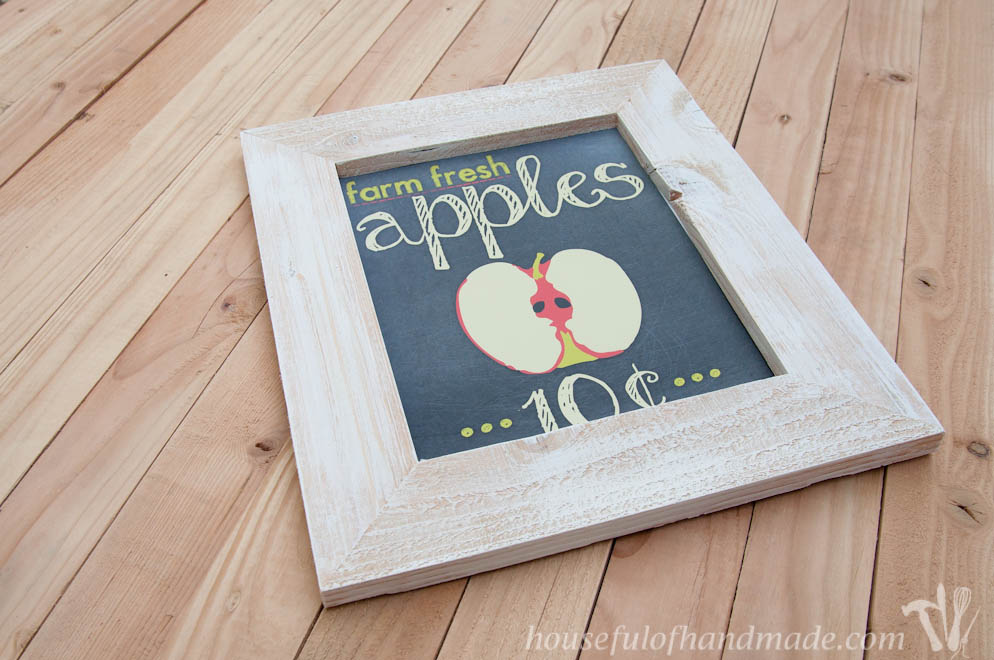 diy rustic picture frame shown with apple printable on wood background