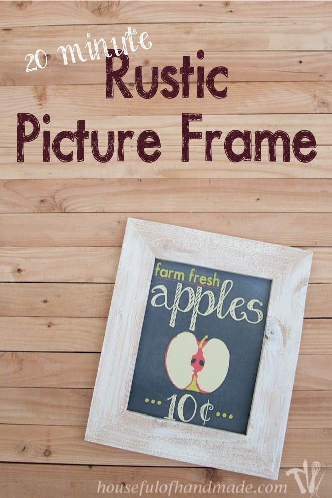 rustic picture frame pinterest image shown with wood background