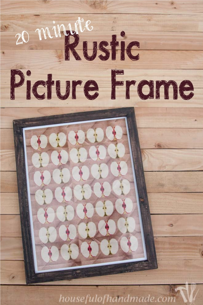 fall printable apple picture shown in diy rustic picture frame