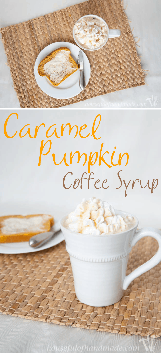 Get your pumpkin fix in your coffee or cocoa with this delicious real food caramel pumpkin coffee syrup. Recipe on Houseful of Handmade.
