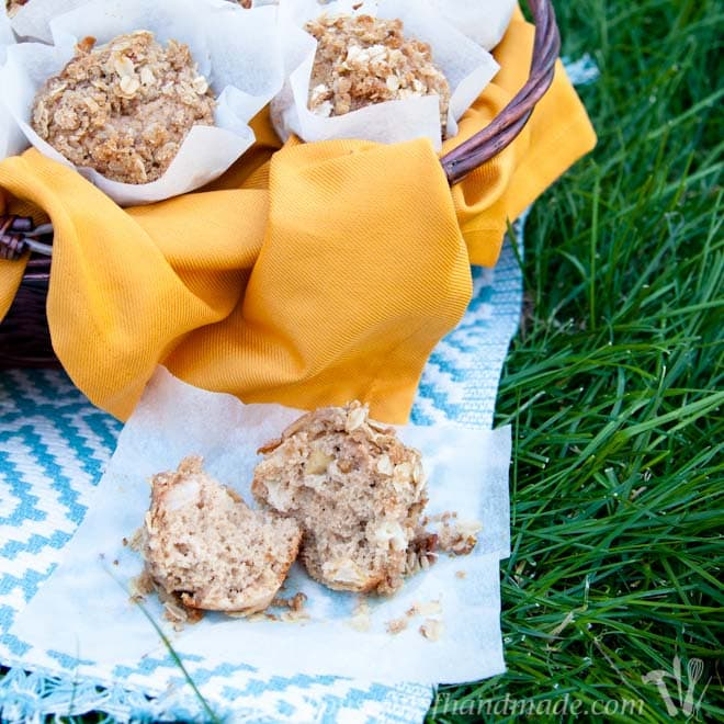 These pear muffins are amazing! They are like a little bit of fall in your mouth. Delicious cinnamon and pear topped with an oatmeal crumble. Recipe on Houseful of Handmade.