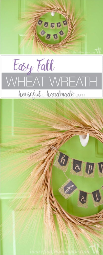 I love this wreath and it's easy! Welcome fall with this easy Fall Wheat Wreath. Simple rustic style is the perfect fall decor. | Housefulofhandmade.com