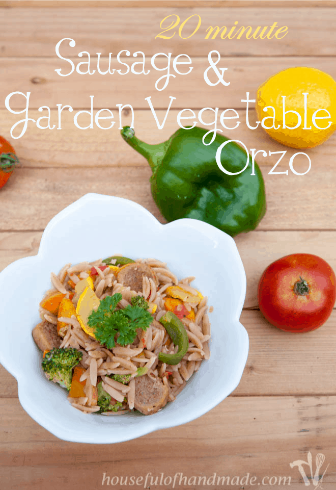 A delicious and easy pasta dish, packed with tons of vegetables from the garden. Recipe on Houseful of Handmade.