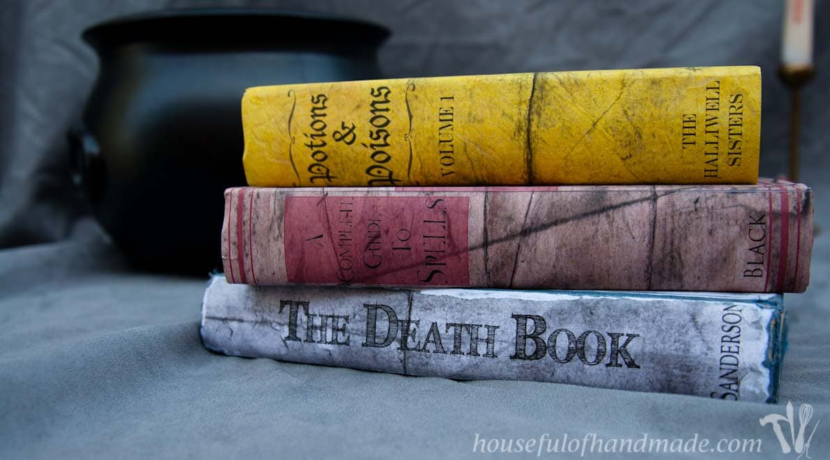 Printable Halloween book covers on books to decorate for Halloween. Book titles include Potions & Poisons Volume 1, A Complete Guide to Spells, and The Death Book.