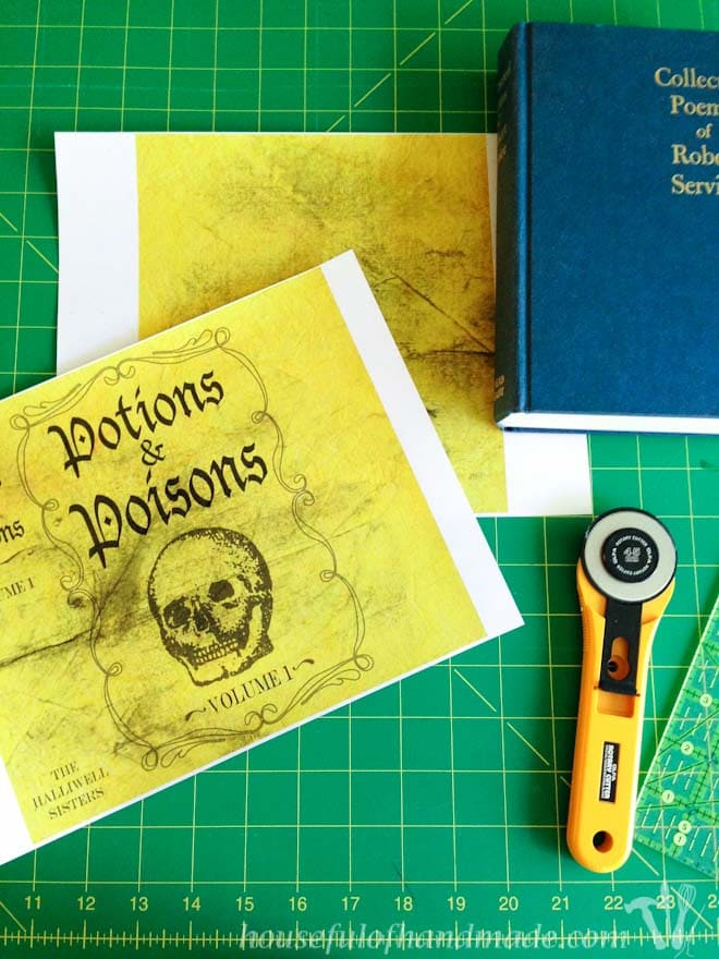 Turn any book into a spooky witch's book with these printable Halloween book covers. Housefulofhandmade.com