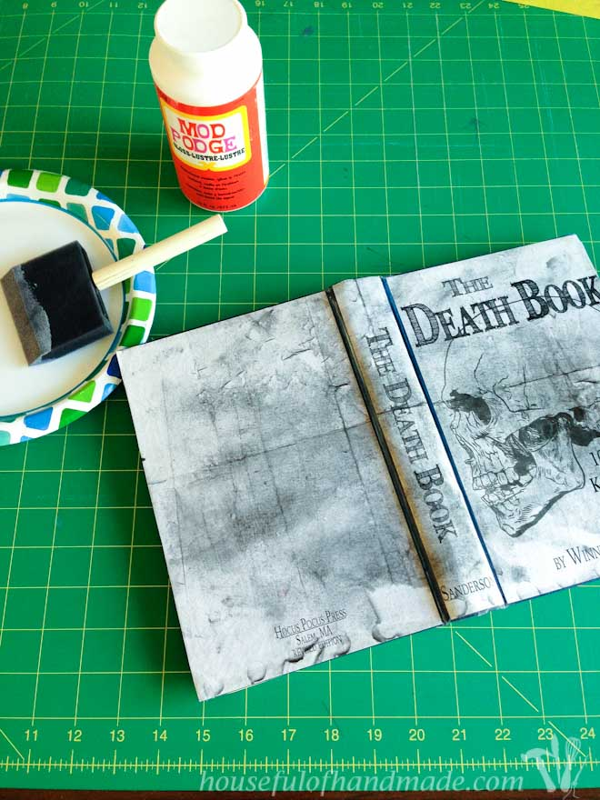 Use Mod Podge to transform a thrift store book into the perfect Halloween decorations. These free printable Halloween book covers are amazing! Housefulofhandmade.com