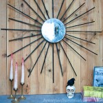 How to make a Halloween sunburst mirror that looks like it has been in grandmas attic for years! Perfect for your spooky Halloween decor. Tutorial from Houseful of Handmade.