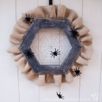Make a simple, spooky spider web wreath for Halloween. I just love the way the string web looks with the fuzzy spiders. Tutorial on Houseful of Handmade.