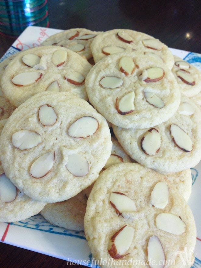Sugar cookie with almonds to look like a sand dollar for delicious mermaid treats for party