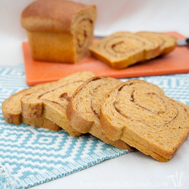 This is the most delicious bread. It is a soft & light whole wheat pumpkin bread with a pumpkin spice swirl inside. Recipe of Houseful of Handmade.