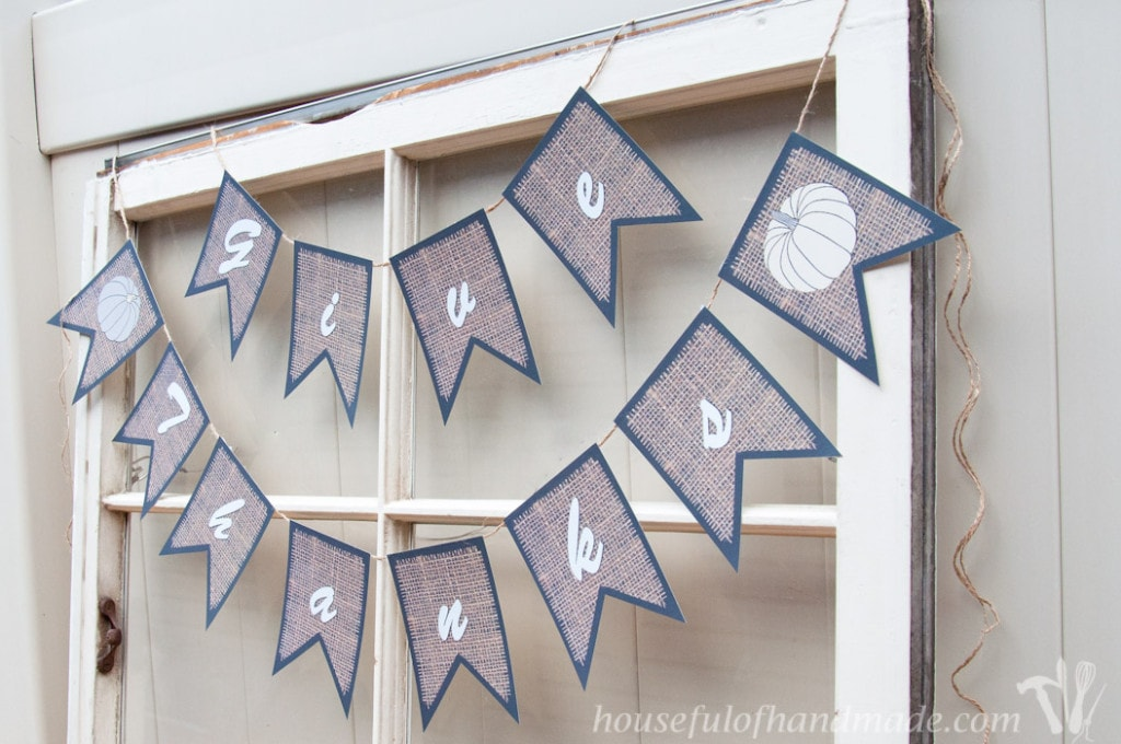 Super easy burlap banners because they are free printable files. All you have to do is print and cut out.