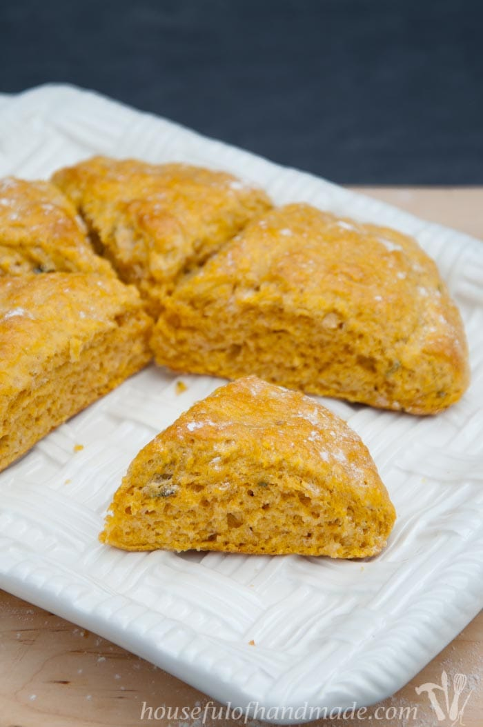 I love putting pumpkin in savory dishes. These pumpkin sage scones are perfect for a cold fall evening. Recipe on housefulofhandmade.com.