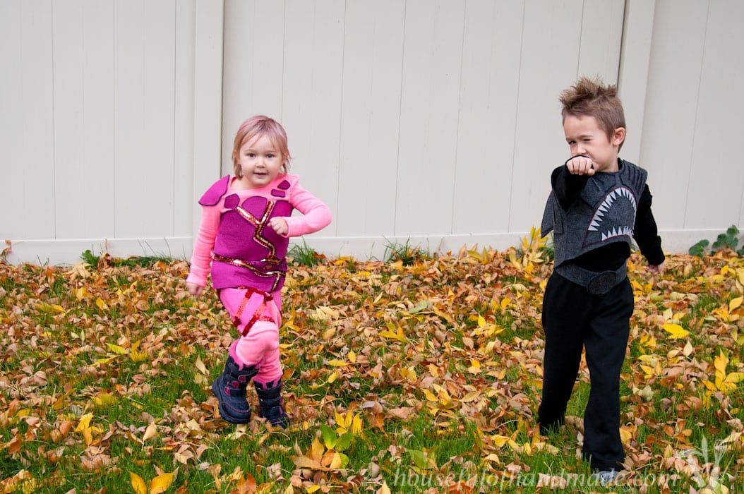 Homemade Halloween costumes are the best! I use a few key techniques almost every year for our Halloween costumes. See how I made these awesome Sharkboy and Lavagirl Halloween costumes for my kids.   HousefulofHandmade.com