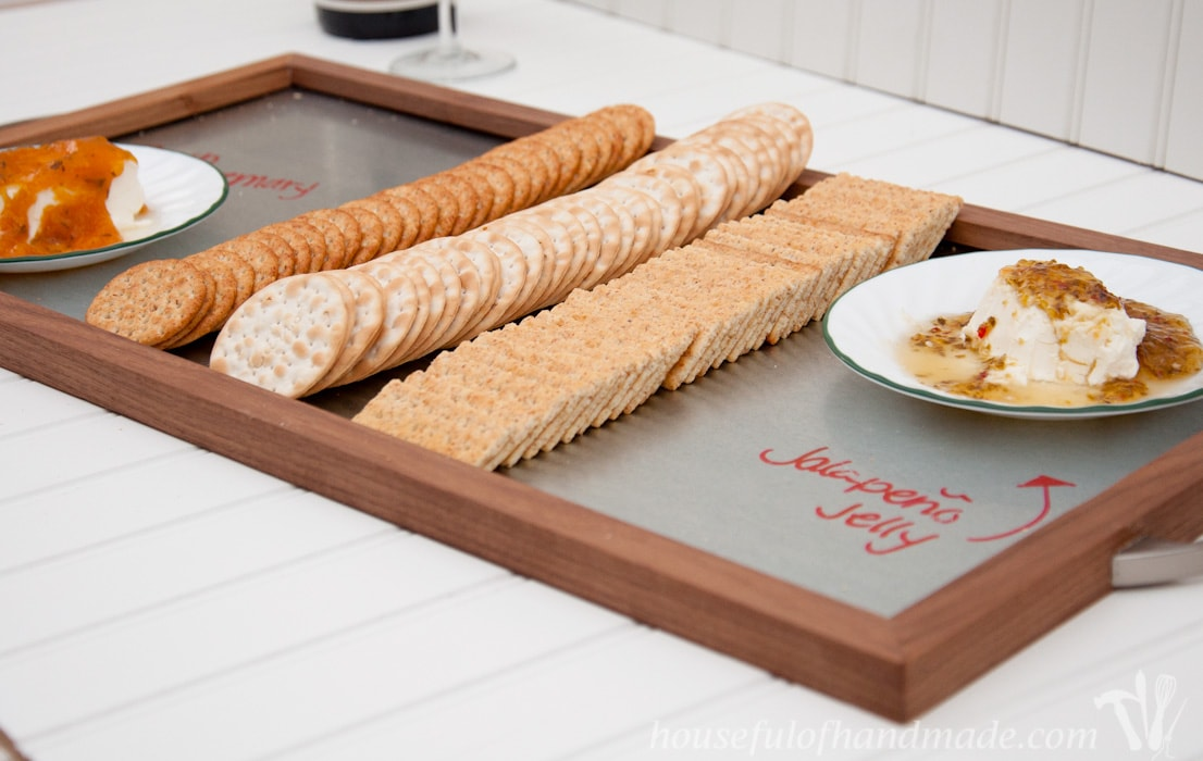 Make a simple and beautiful wood and steel serving tray for the holidays. A great DIY for gifts or to entertain this season. | HousefulofHandmade.com